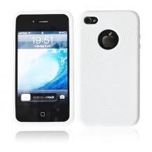 A-One BrandSilikon Cirkel Skal till iPhone 4 (Vit)
