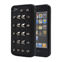 A-One BrandStudded leather pattern FlexiSkal till Apple iPhone 4S/4 (Point Mountains)