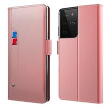 A-One BrandPlånboksfodral med Spegel Galaxy S21 Ultra - Roséguld