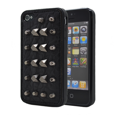 Studded leather pattern FlexiSkal till Apple iPhone 4S/4 (Point Mountains)
