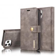 DG.MINGDG.MING Äkta Läder Plånboksfodral iPhone 13 Mini - Grå