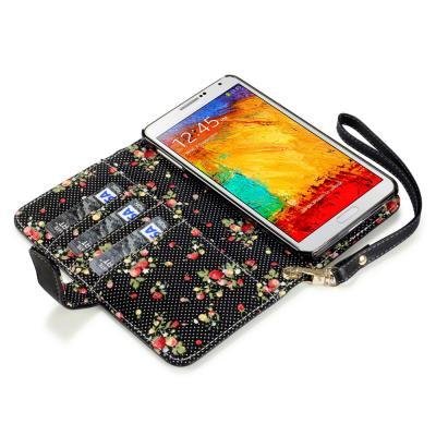 Interior floral Mobilväska/Plånboksfodral till Samsung Note 3 N9000 (Svart)