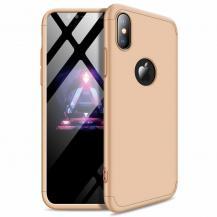 GKKGKK 360 Protection Fram bak skal iPhone XS Max Guld logo hole