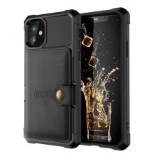 OEMKickstand Läder Coated Mobilskal iPhone 12 Pro Max - Svart
