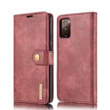 DG.MINGDG.MING Detachable Äkta Läder Plånboksfodral Samsung Galaxy S20 FE - Röd