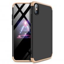 GKKGKK 360 Protection Fram bak skal iPhone XS Max Svart-guld