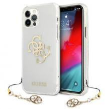 GuessGuess Skal iPhone 12 / 12 Pro Gold Charms Collection - Transparent