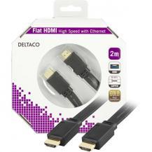 25519184DELTACO HDMI-kabel, v1,4+Ethernet, 19-pin ha-ha, 1080p, flat,svart, 2m