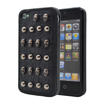Studded leather pattern FlexiSkal till Apple iPhone 4S/4 (Dot Skulls)