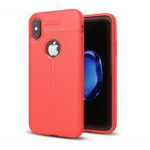 A-One BrandLitchi Skin TPU Mobilskal till iPhone XS / X - Röd