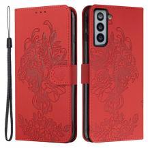 A-One BrandTiger Flower Plånboksfodral till Galaxy S21 - Röd