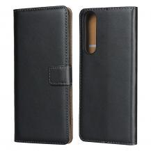 OEMÄkta Läder plånboksfodral Sony Xperia 1 II - Svart
