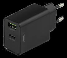 DeltacoDELTACO USB-väggladdare med dubbla portar och PD, 1x USB-A, 1x USB-C,