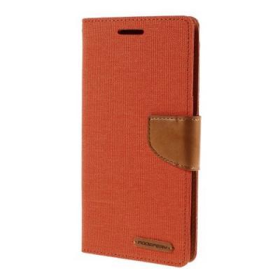 Mercury Canvas Diary Plånboksfodral till Samsung Galaxy S6 Edge Plus - Orange