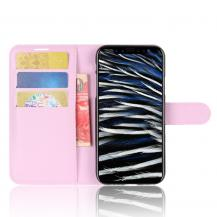 A-One BrandLitchi Plånboksfodral till iPhone XS / X - Rosa