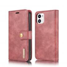 DG.MINGDG.MING Detachable Äkta Läder Plånboksfodral iPhone 12 Mini - Röd