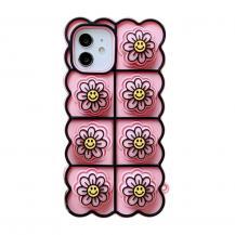 Fidget ToysSmiley Flower Pop it Fidget Skal till iPhone 11 - Magenta