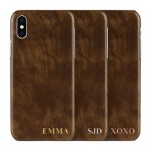 Designa själv - iPhone XS Max konstläder skal - BRUN