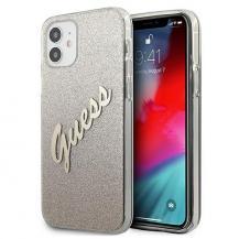 GuessGuess Skal iPhone 12 Mini Glitter Gradient Script - Guld
