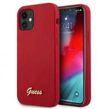 GuessGuess Skal iPhone 12 Mini Metal Logo Script - Röd