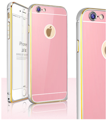 JFX Metallbumper-skal till Apple iPhone 6(S) Plus (Rose Gold - Silver)