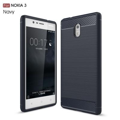 Carbon Brushed Skal till Nokia 3 - Blå