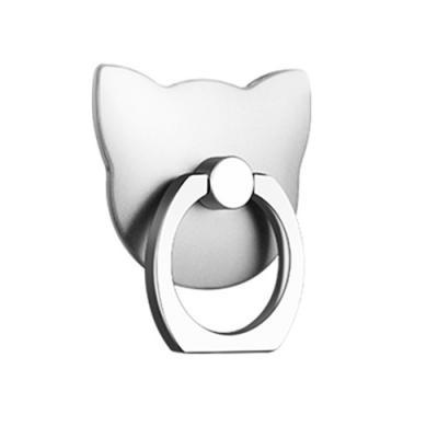 Katt Ringhållare till Mobiltelefon - Silver