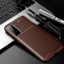 A-One BrandCarbon Fiber Mobilskal till Samsung Galaxy S21 - Brun