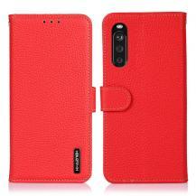 KHAZNEHKHAZNEH - Äkta läder Plånboksfodral Sony Xperia 10 III - Röd
