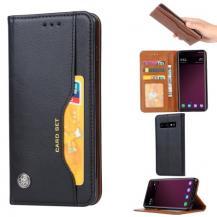 A-One BrandPlånboksfodral Retro för Samsung Galaxy S10 - Svart