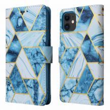 A-One BrandMarble Grid Plånboksfodral till iPhone 11 - Blå