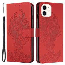 A-One BrandTiger Flower Plånboksfodral till iPhone 12 Mini - Röd