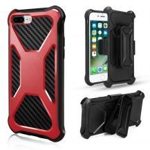 A-One Brand2-in-1 mobilskal med bältesfodral till iPhone 8 Plus / 7 Plus - Röd
