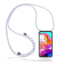 CoveredGear-NecklaceCoveredGear Necklace Case Samsung Galaxy A70 - White Stripes Cord