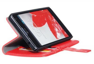 Embossed Plånboksväska till LG Optimus L5 (Röd)