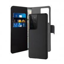 PuroPuro - Löstagbar Plånboksfodral Samsung Galaxy S21 Ultra - Svart