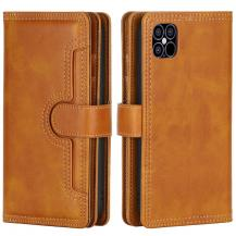 OEMMultiple Card Slots Äkta Läder Plånboksfodral iPhone 12 Mini - Brun