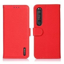 KHAZNEHKhazneh Äkta Läder Fodral till Sony Xperia 1 III - Röd