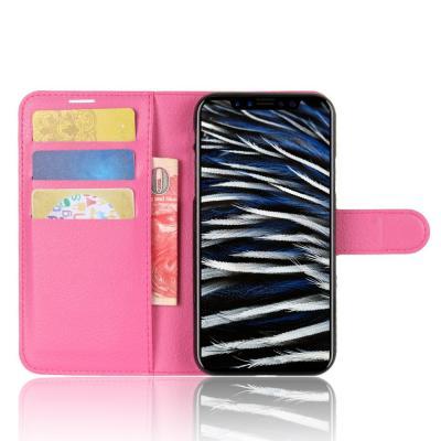 Litchi Plånboksfodral till iPhone XS / X - Magenta