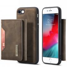 DG.MINGiPhone 7/8/SE 2020 Skal DG.MING Magnetic Tri-fold Wallet Med Kickstand - Coffee