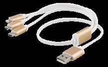 EpziEPZI Multiladdare, USB-C, Lightning, Micro USB, USB-A, 50cm, vit