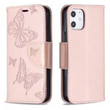 OEMImprint Butterfly Plånboksfodral iPhone 12 mini - Rose Gold