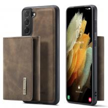 DG.MINGSamsung Galaxy S21 Skal DG.MING M1 Magnetic Tri-fold Wallet Med Kickstand