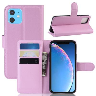 Litchi Plånboksfodral till iPhone 11 - Rosa