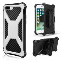 A-One Brand2-in-1 mobilskal med bältesfodral till iPhone 8 Plus / 7 Plus - Vit