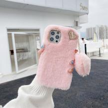 OEMI Love You Heart Fluffig Skal till iPhone 7/8/SE 2020 - Rosa