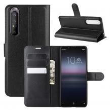 ImakLitchi Läder plånboksfodral Sony Xperia 1 II - Svart