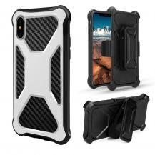 OEMCarbon Fiber Texture 2-in-1 mobilskal med bältesfodral iPhone XS / X - Vit