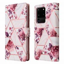A-One BrandMarble Grid Plånboksfodral till Galaxy S21 Ultra - Rosor