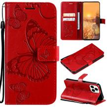 OEMFjärilar Plånboksfodral iPhone 13 Pro Max - Röd